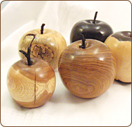Wooden fruit turned by Phil Jones professional production Woodturner in Buckinghamshire