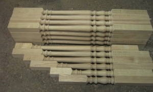 Oak baluster copy turned and diminishing balusters