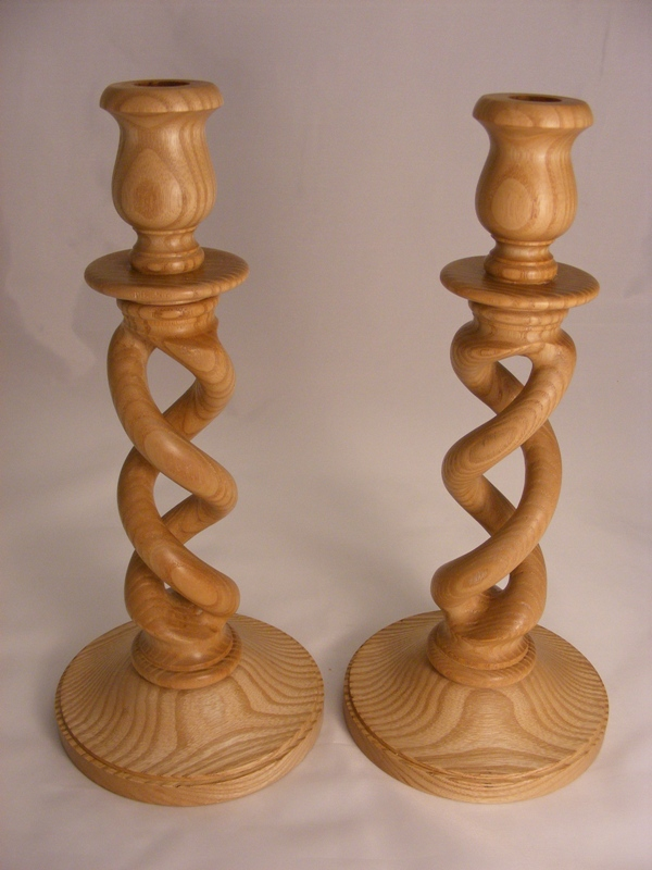 Ash open barley twist candle sticks.