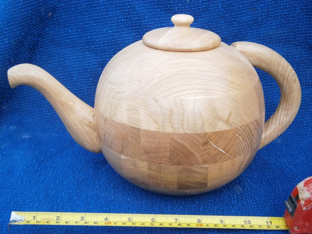 Wooden tea pot cremation urn hand turned bt phil Jone professional wood turner